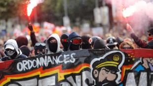 Người biểu tình chống luật cải cách lao động của chính phủ ngày 12/09/2017 tại Nantes.