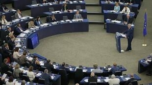 Chủ tịch Ủy Ban Châu Âu Jean-Claude Juncker phát biểu tại Nghị viện châu Âu, ngày 14/09/2016.