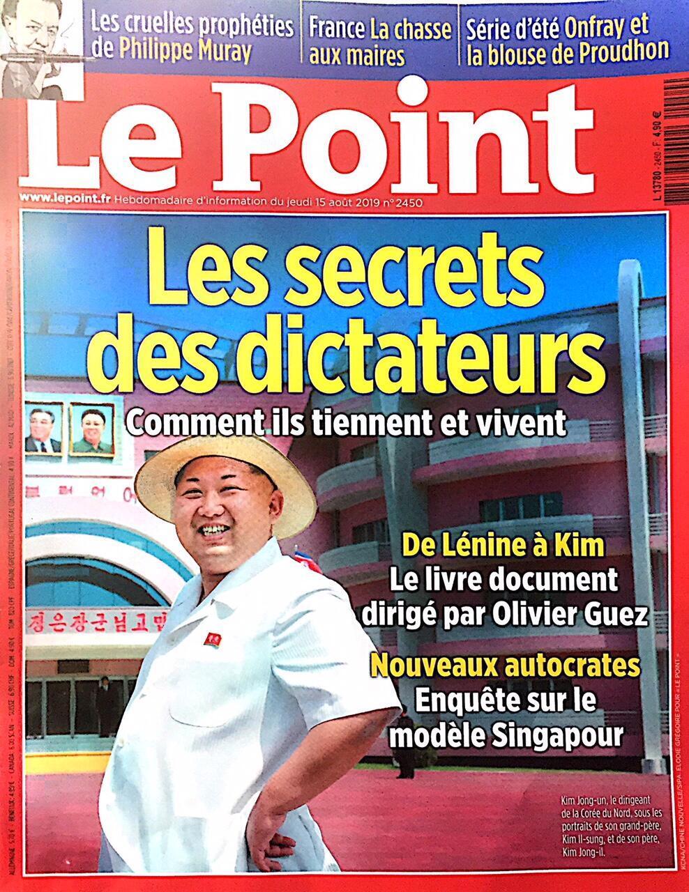 Bìa tuần báo Le Point số ra ngày 15/08/2019.
