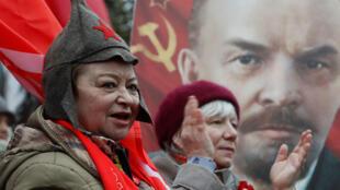 Манифестация по случаю столетия Октябрьской революции в Москве, 7 ноября 2017.