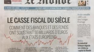 Primeira páginas do Le Monde 18/10/2018