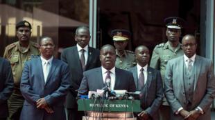 Fred Matiang'i durant une conférence de presse à Nairobi le 31 janvier 2018.