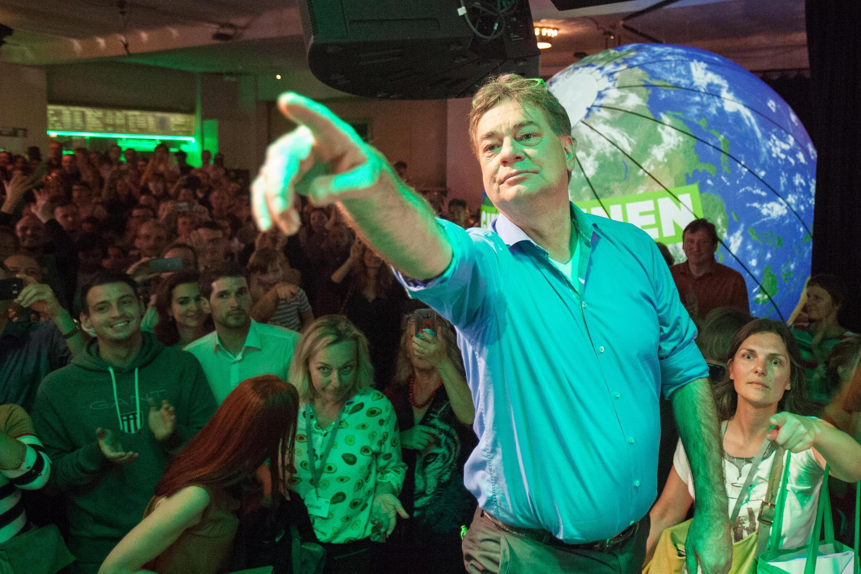 The leader of Austria's Greens party, Werner Kogler, after voting on Sunday, 29 September, 2019.
