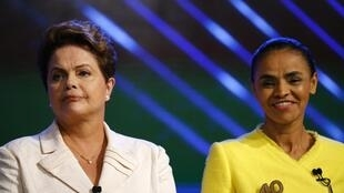 La candidate sortante Dilma Rousseff (à gauche) et la candidate socialiste Marina Silva lors du dernier débat télévisé du 2 octobre 2014.