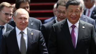 图为中国国家主席习近平与俄罗斯总统普京2019年6月14日于中亚上合峰会前