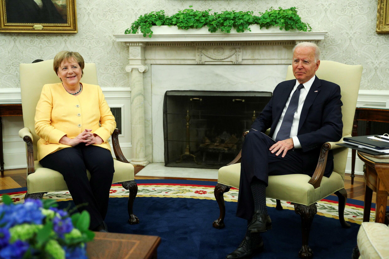 德國總理默克爾與美國總統拜登資料圖片
