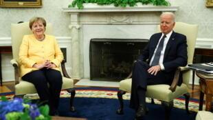德国总理默克尔与美国总统拜登资料图片