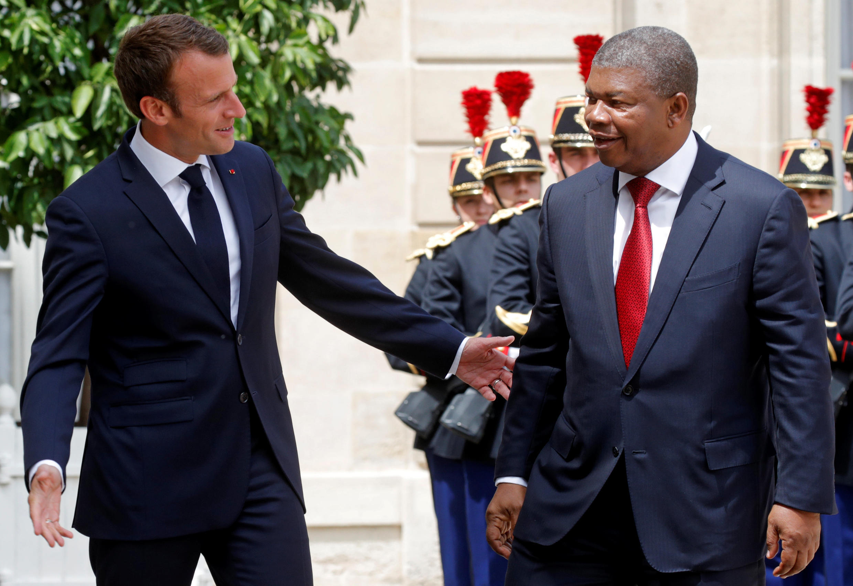 O Presidente francês, Emmanuel Macron, recebeu o Presidente de Angola, João Lourenço, no Palácio do Eliseu, em Paris, a 28 de Maio de 2018.