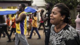 Procissão fúnebre de Axel Messa, esta manhã, em Libreville.