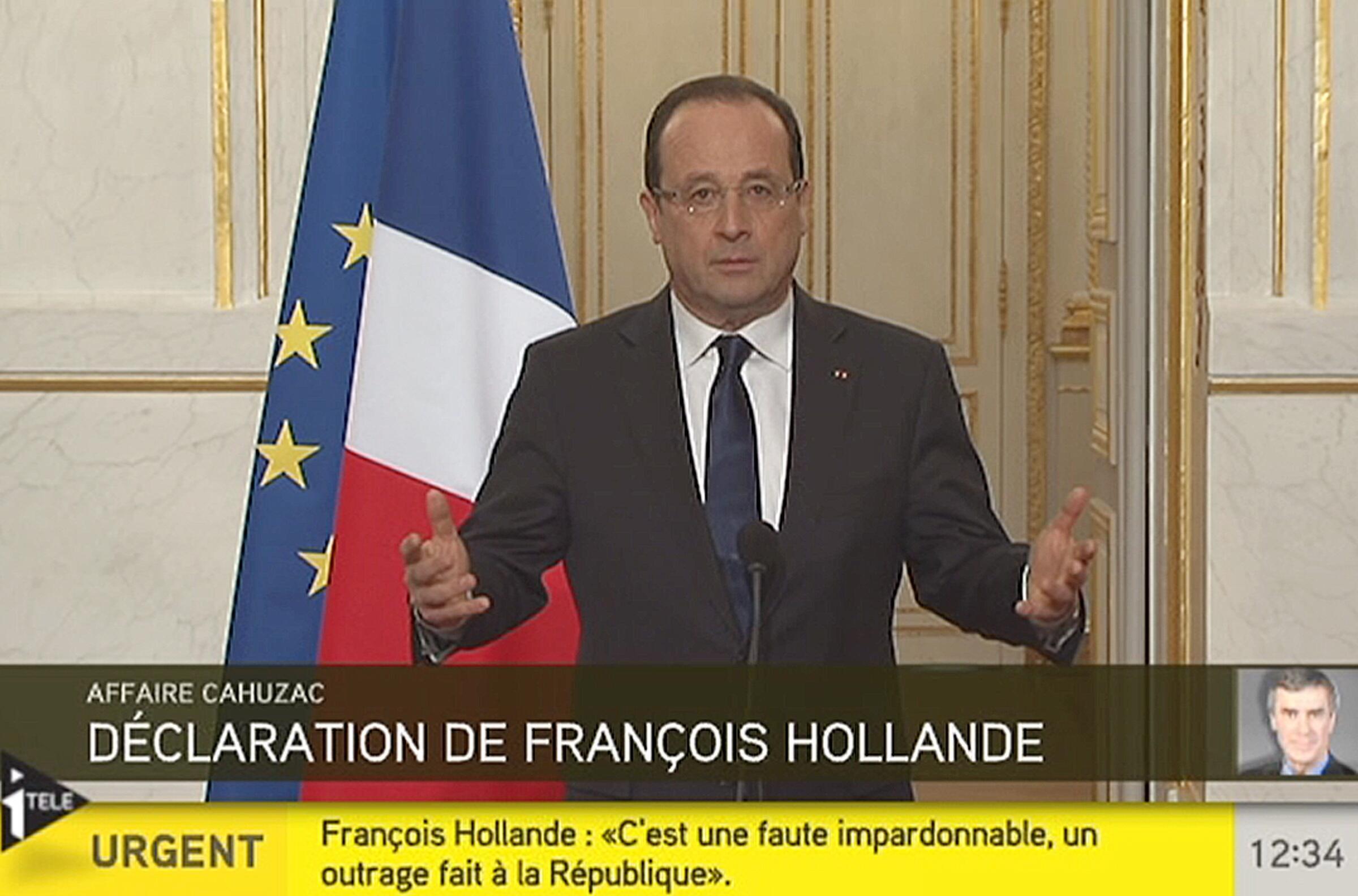Кадр из телеобращения Франсуа Олланда на канале iTele 03/04/2013