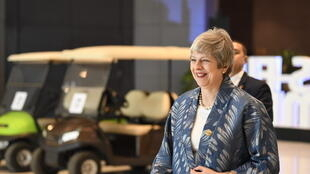 British Prime Minister Theresa May arrives at the International Congress Centre in Sharm el-Sheikh, 24 February 2019.