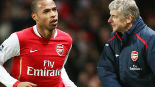 Thierry Henry with Arsenal Coach Arsene Wenger