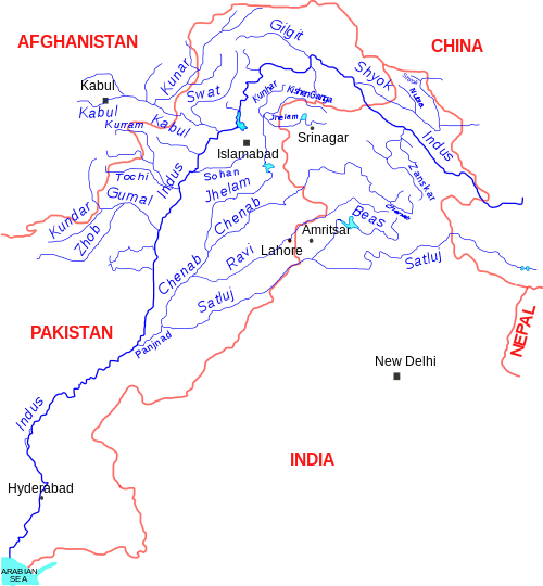 The Indus river and its tributaries
