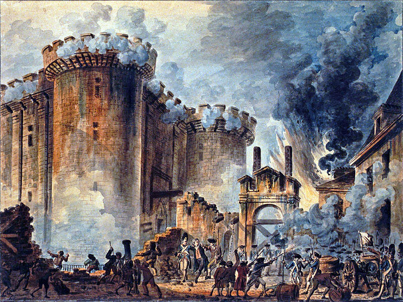 ចលនាបដិវត្តន៍ប្រជាជនវាយផ្តួលរំលំគុក Bastille នៅប៉ារីស ថ្ងៃទី១៤ កក្កដា ១៧៨៩។ ថ្ងៃ១៤ កក្កដានេះ ត្រូវបានបារាំងយកធ្វើជាថ្ងៃបុណ្យជាតិ រហូតមកទល់នឹងសព្វថ្ងៃ។