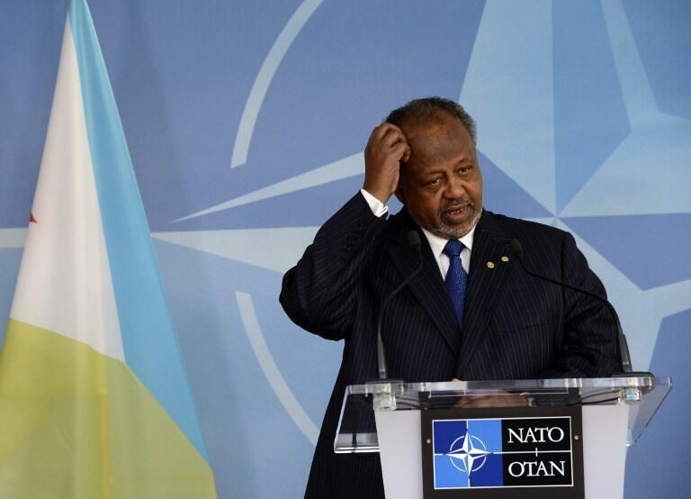 Le président de Djibouti, Ismaïl Omar Guelleh, à la tribune de l'Otan, à Bruxelles, le 16 septembre 2013.