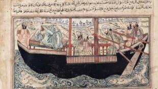 Arca de Noé segundo Jâmimi al-tawârîkh (história universal), por Rashîd al-Dîn (1314-1315), Tabriz, Irã.