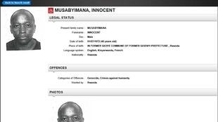 The international arrest warrant for Innocent Musabyimana