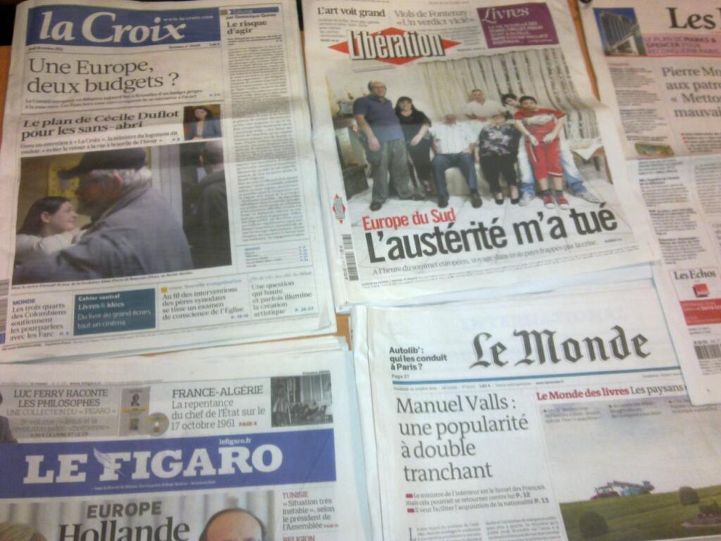 Diários franceses   18/10/2012