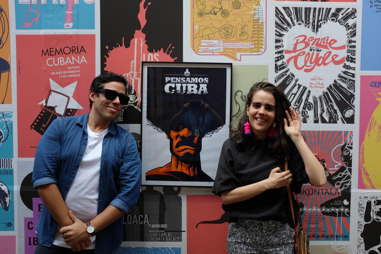 Edel Rodriguez et Giselle Monzon du collectif Nocturnal dans l'exposition « Ola Cuba ! » à Lille.