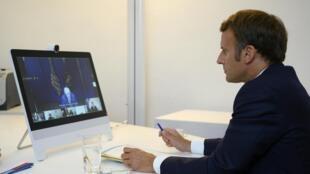 Rais wa Ufaransa Emmanuel Macron, wakati wa mkutano wa kimataifa kwa njia ya video kuhusu Lebanon, Agosti 9, 2020.