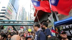 圖為台灣民眾2019年6月16日遊行聲援香港反送中示威。