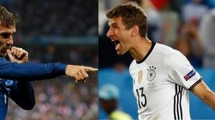 O francês Antoine Griezmann e o alemão Thomas Muller (e) são as grandes estrelas da partida.