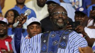 Rais mpya wa Liberia George Weah.