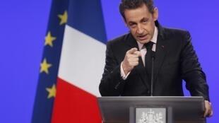 O presidente francês Nicolas Sarkozy durante discurso, em Mulhouse, no leste da França.