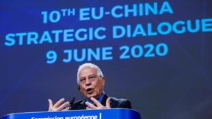 Cao ủy châu Âu phụ trách đối ngoại, ông Josep Borrell phát biểu trong cuộc họp báo về Đối thoại Chiến lược EU-Trung Quốc, tại Bruxelles (Bỉ) ngày 09/06/2020.