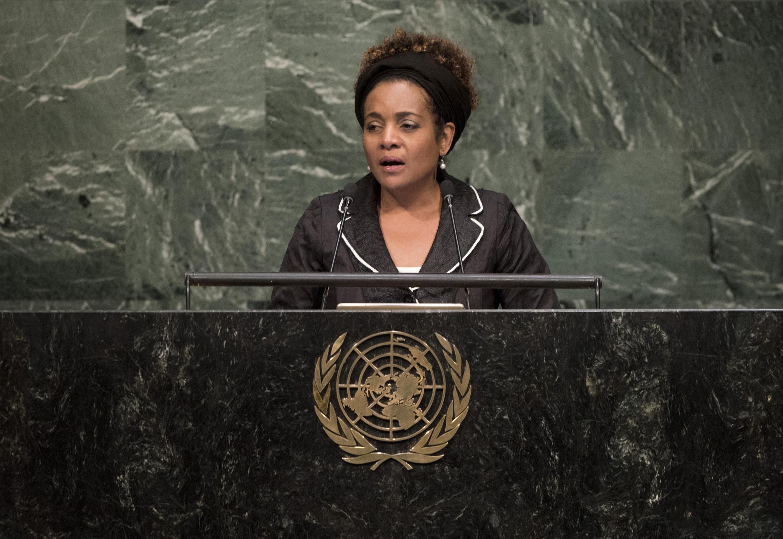 Michaëlle Jean, secrétaire générale de l'Organisation internationale de la Francophonie, devant l'assemblée générale des Nations unies, en septembre 2015. (Photo d'archive)