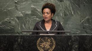 Michaelle Jean, secrétaire générale de l'Organisation internationale de la Francophonie, devant l'assemblée générale des Nations unies, en septembre 2015. (Photo d'archive)