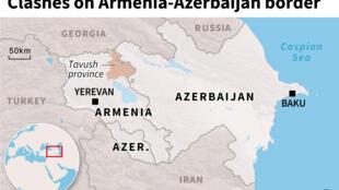 Mapa do Azerbaijão e da Arménia com localização da província  de Tavush