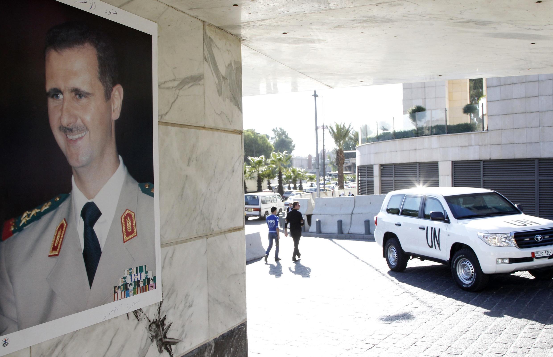 Un véhicule des inspecteurs de l'ONU à Damas, en septembre 2013.
