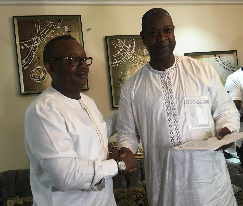 Umaro Sissoco Embalo et Nuno Nabiam ont scellé leur alliance en vue du second tour, mardi 4 décembre 2019 à Dakar.