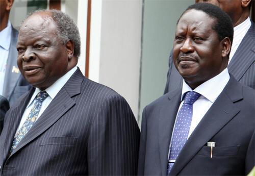 President Mwai Kibaki (L) and Prime Minister Raila Odinga