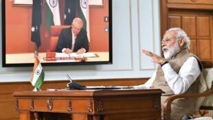6月4日印澳两国首脑参加视频峰会资料图片