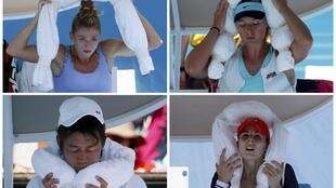 Players including Maria Sharapova, Kei Nishikori and Alizé Cornet use ice-packed towels to cool down at the Australian Open on 16 January.