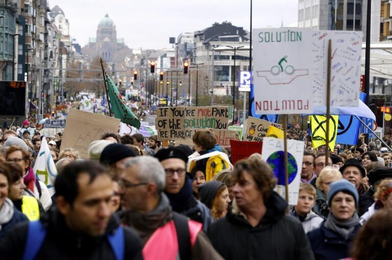 比利時警方的統計數字認為,2019年1月27號周日在布魯塞爾街頭參加歐洲關注氣候變化遊行的人數大約是7萬