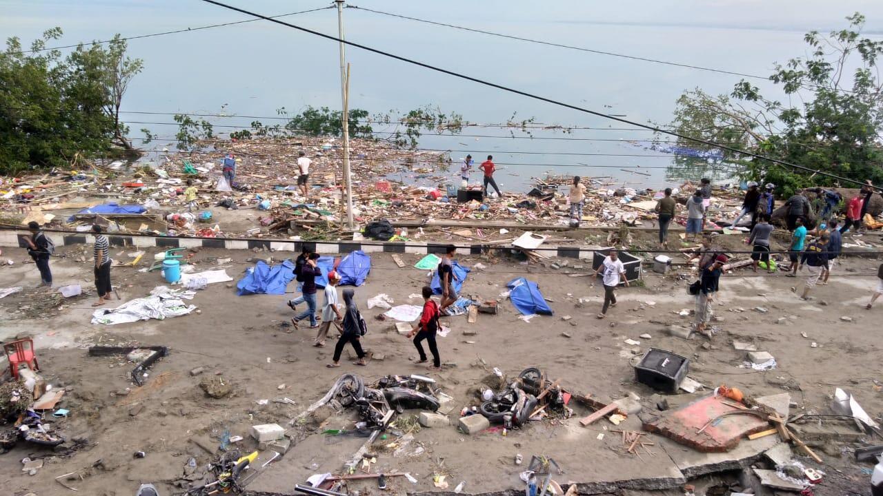 Wani yanki na garin Palu, da ke tsakiyar tsibirin Sulawesi, da ke kasar Indonesia, Yau lahadi, 30, 2018.