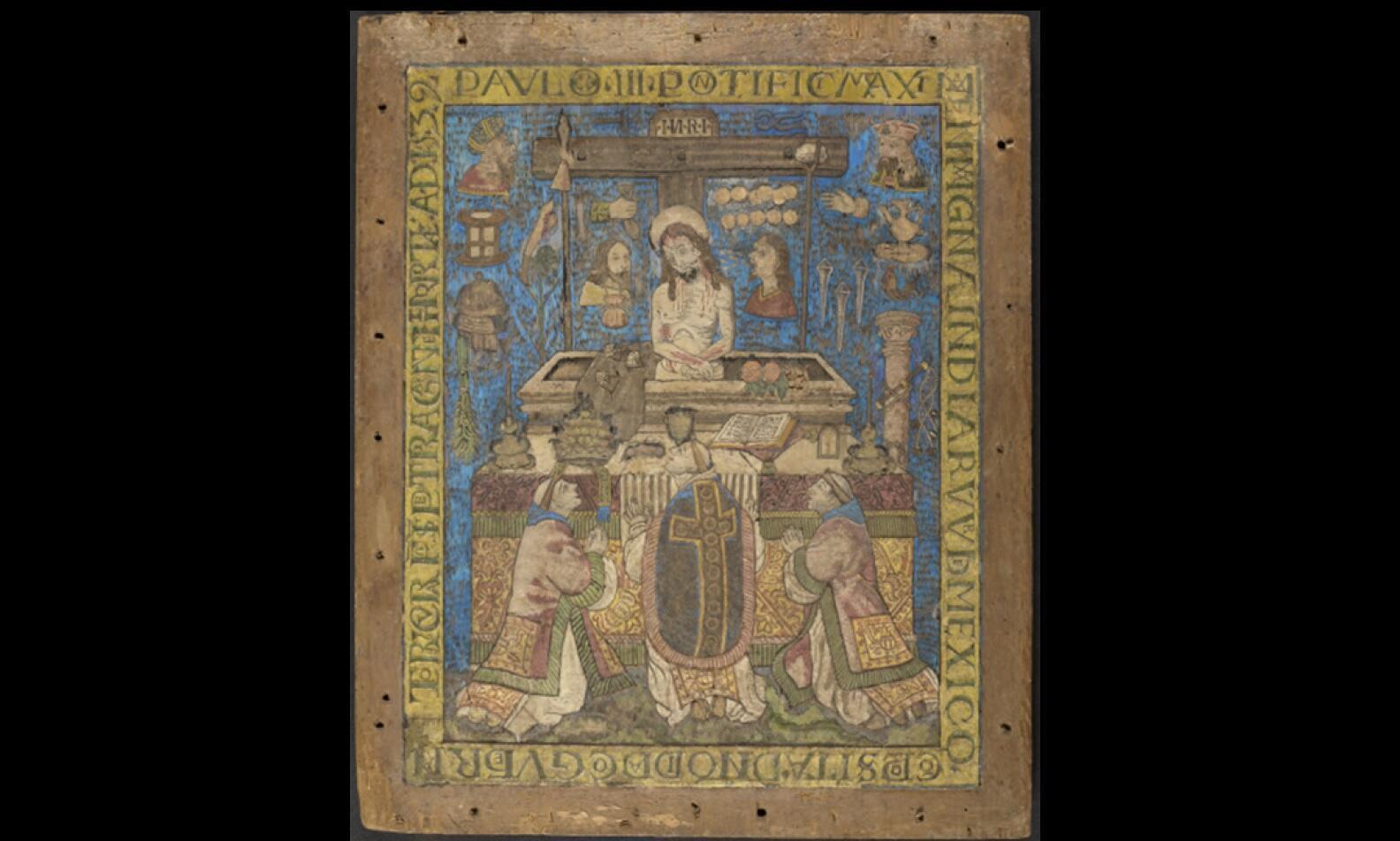 Misa de San Gregorio, mosaïco de plumas sobre madera, 1539
