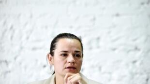 L'opposante biélorusse, Svetlana Tikhanovskaïa, lors d'une conférence de presse le 10 août 2020.