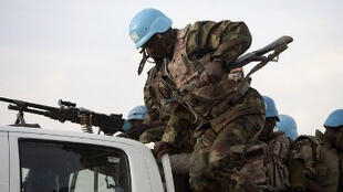A peacekeeping soldier from the Unamid mission in Darfur