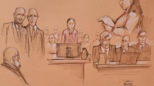 美国院方公布的庭审描绘图