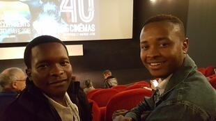 Filmmaker Orlando Mabasso (L) with his co-writer and producer Ciro Mondlane, 3 Continents Film Festival in Nantes, 21 November 2018Smiling in Katorza Cinema