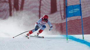 Marie Bochet of France competes in standing downhill at the 2018 Pyeongchang Winter Paralympics