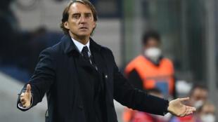 Le sélectionneur italien Roberto Mancini lors du match de Ligue des Nations face aux Pays-Bas, à Bergame, le 14 octobre 2020
