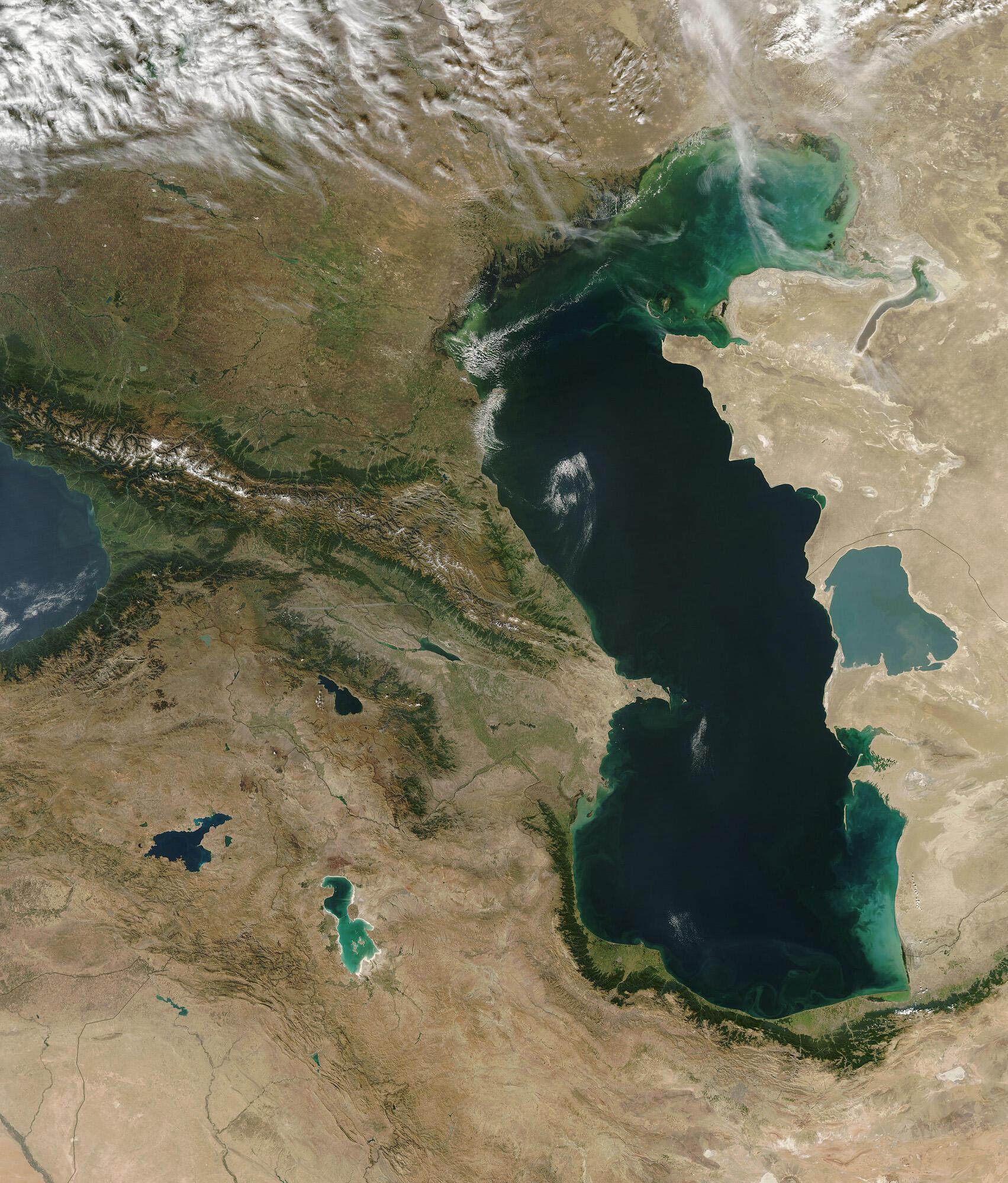 La mer Caspienne vue de l'espace.