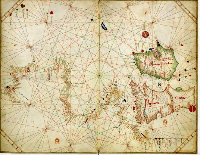 Так называемая «пизанская карта», свидетель того, что в 13 веке картографы Европы уже разработали общие нормы для морских карт.