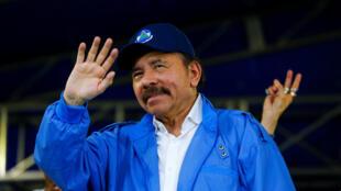 Daniel Ortega face à ses partisans à Managua, le 7 juillet 2018.
