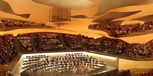The auditorium in the Philharmonie de Paris, designed by architect Jean Nouvel.